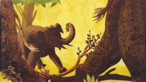 Die Elefanten trampeln durch den Urwald