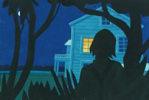 Tom Sawyer steht sehnsuechtig vor Becky Thatchers Fenster