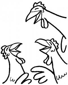 Da lachen ja die Hühner (Filzstift)