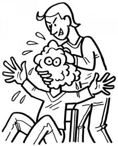 Jemandem den Kopf waschen (Filzstift)
