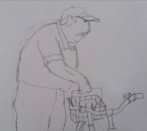Der an fremden Fahrräder rumfummelnde Opa. Hier dreht er den Griff eines Fahrradkorbs nach oben.