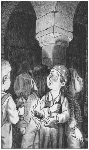 Flip und seine Freund im unterirdischen Saal