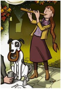 Die Flötistin und ihr Hund im Straßencafé