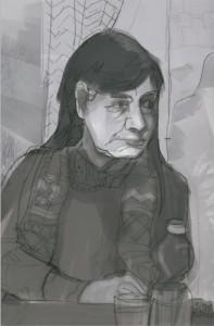 Meine Mitsängerin Birgit in Grautönen