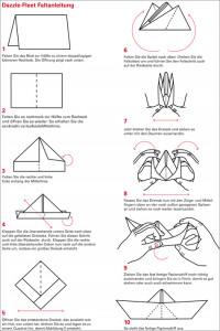 Faltanleitung für Papierschiffchen