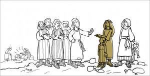 Zwei Mütter wollen mit ihren Kindern zu Jesus, der im Hintergrund Kranke heilt. Seine Jünger lassen die Mütter nicht zu ihm durch.