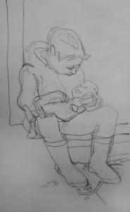 Kleines Maedchen mit Puppe