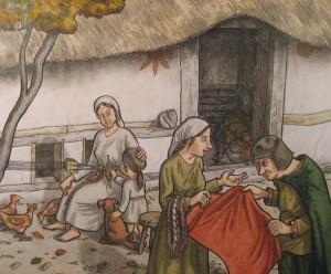 Mittelalterliches Grubenhaus und seine arbeitenden Bewohner/innen