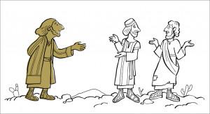 Jesus fordert zwei seiner Jünger zum Sprechen auf.
