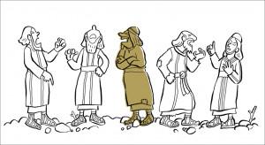 Fünf von Jesus Jüngern streiten sich darüber, wer von ihnen der Wichtigste für Jesus ist.
