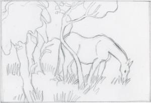 Ein Pferd auf der Weide