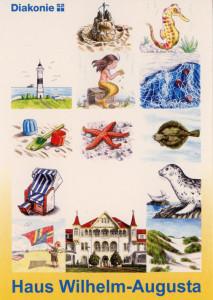 01 Postkarte mit allen Motiven für Türschilder und Schlüsselanhänger. Außerdem ist noch das Erholungsheim Haus Augusta zu sehen.