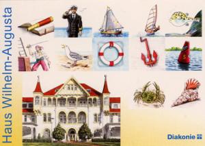 02 Postkarte mit allen Motiven für Türschilder und Schlüsselanhänger. Außerdem ist noch das Erholungsheim Haus Augusta zu sehen.