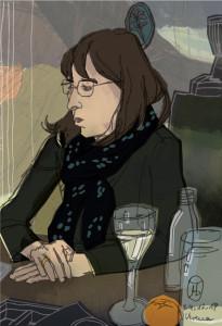 Verena mit Absinthglas an Heiligabend 2019