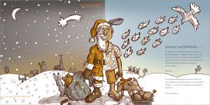 Weihnachtskarte 2016; Klappkarte, Vorder- u. Rückseite