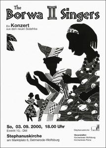 Konzertplakat für die Borwa-II-Singers aus Südafrika