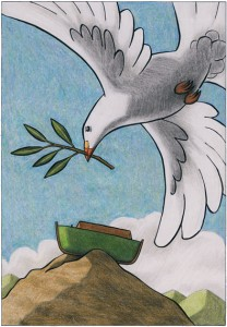 Friedenstaube fliegt zur Arche Noahs
