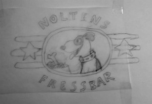 Neue Logo-Skizze zu Noltens FressBar. Entstand aus Spaß an der Freud.