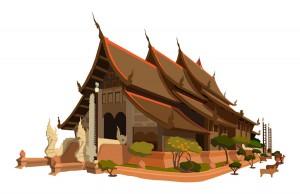 Dieser asiatische Tempel wurde in Illustrator CS3 erstellt