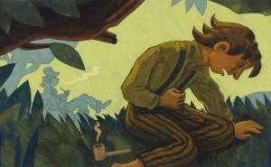 Tom Sawyer und Huckleberry Finn rauchen Pfeife